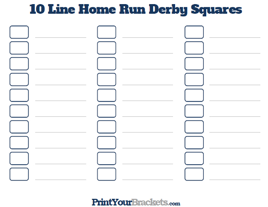 Printable Home Run Derby Office Pool