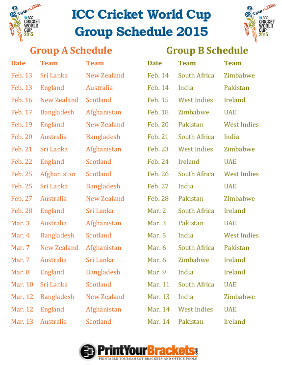 Printable ICC Cricket World Cup Group Schedule 2015