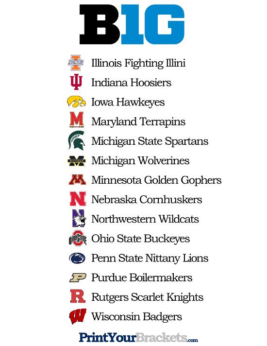 List Of Teams In The Big 10 Printable