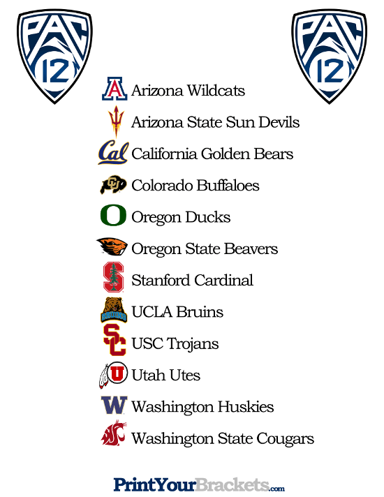 Printable List of Pac 12 Teams