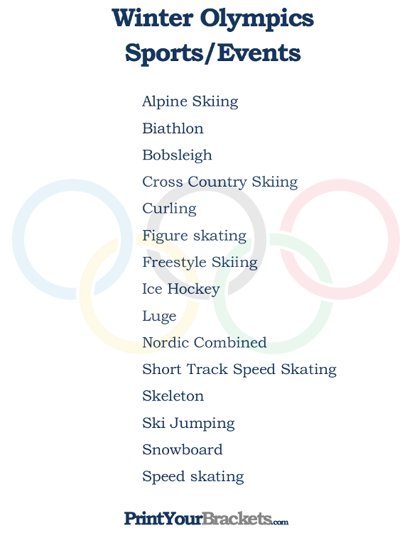 photograph regarding Printable Olympics Tv Schedule titled Printable Checklist of Wintertime Olympics Sports activities and Gatherings