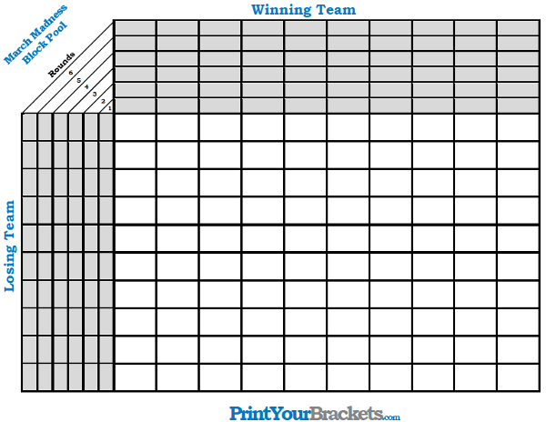 March Madness Block Pool - Printable NCAA 63 Game Pool