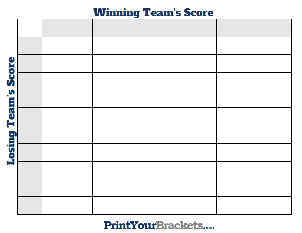 Printable March Madness Squares 100 boxes