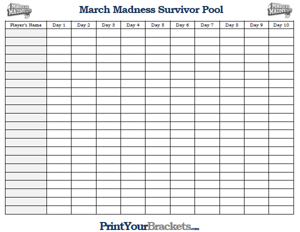 Printable March Madness Survivor Pool