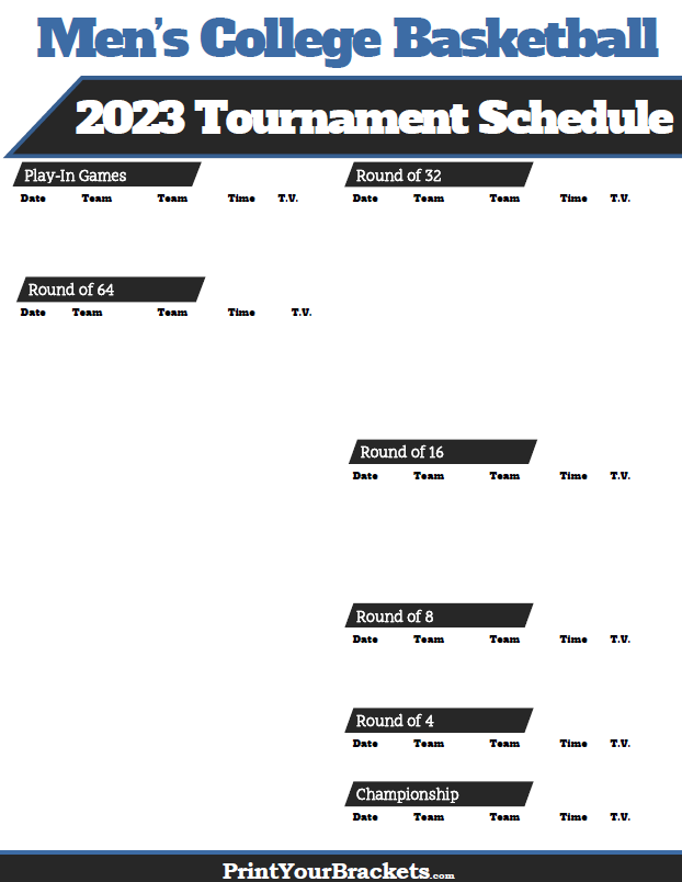 March Madness 2020 Calendar 2020 NCAA March Madness Tournament TV Schedule   Printable