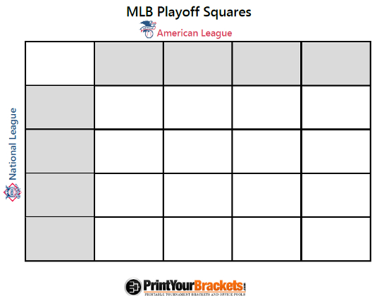 Printable MLB Playoff Squares Office Pool