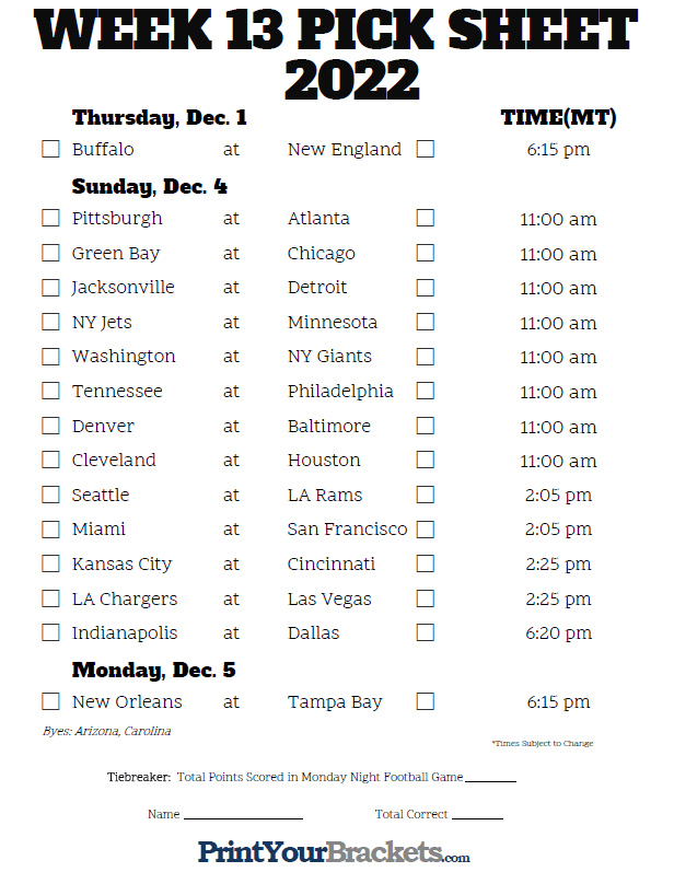 It is an image of Accomplished Nfl Weekly Schedule Printable