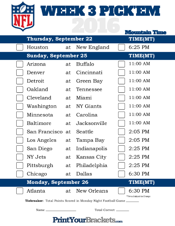 make home games nfl lines week 3