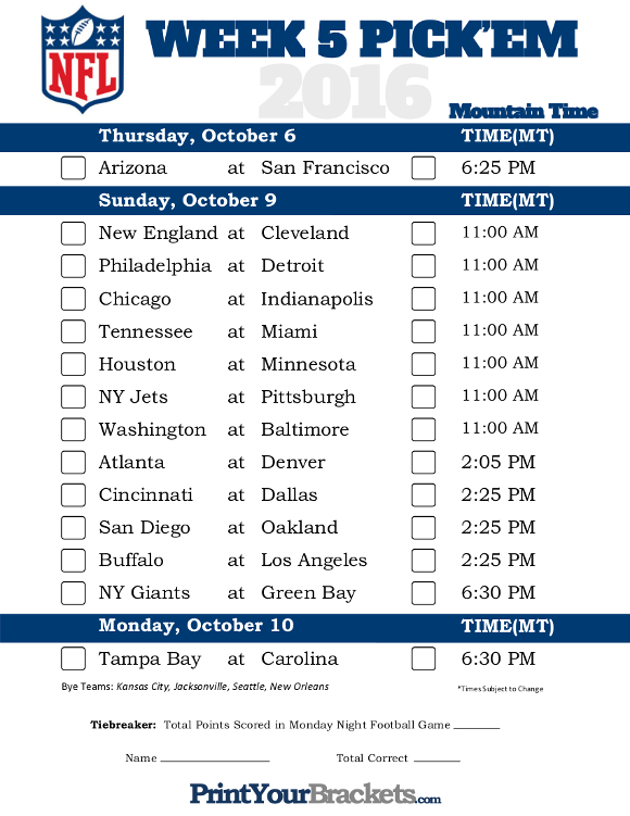 Mountain Time Week 5 NFL Schedule 2016 - Printable