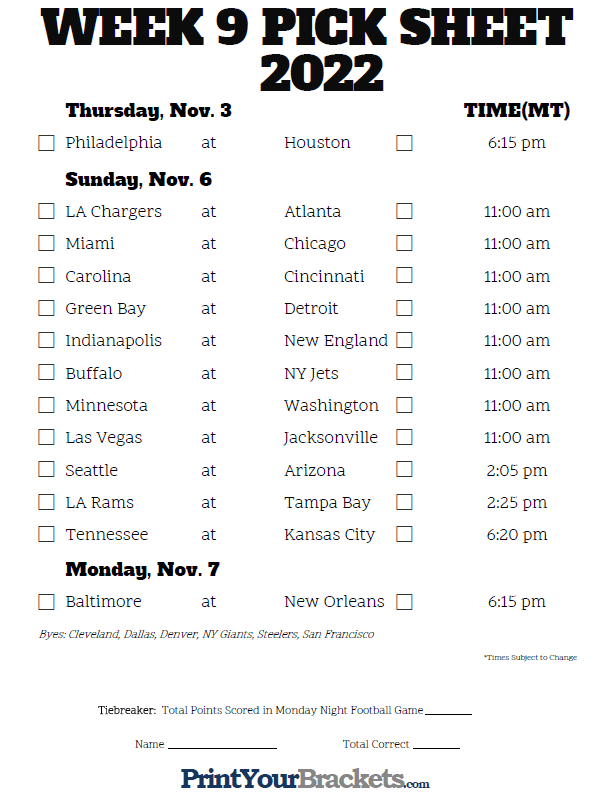 Week 9 NFL Schedule in Mountain Time Zone