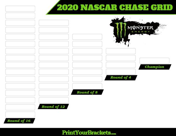 image relating to Nascar Chase Grid Printable named Printable Nascar Chase Grid Playoff - 2019