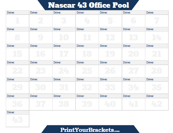 Nascar 43 Square Office Pool