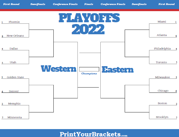 photograph relating to Nfl Playoff Bracket Printable called Printable NBA Playoff Bracket - 2020 NBA Playoff Matchups
