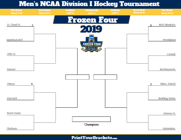 photo about Printable Nhl Bracket referred to as 2019 NCAA Frozen 4 Hockey Event Bracket - Printable