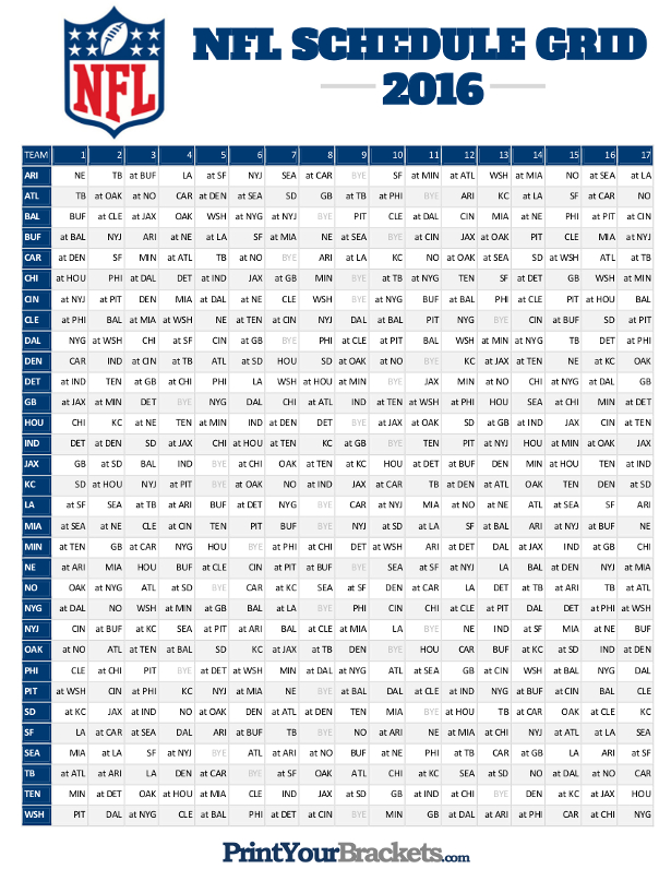 Printable NFL Full Season Schedule Grid