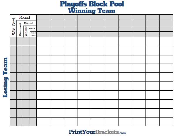 printable super bowl block pool template - printable nfl playoffs block pool