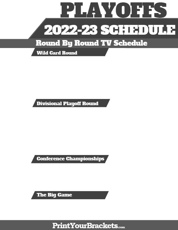 2018 Nfl Playoffs Tv Schedule Printable