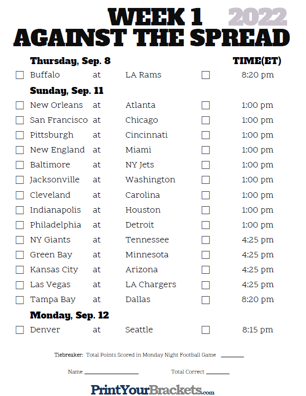 Printable NFL Week 1 Against the Spread Pick 'em Sheets