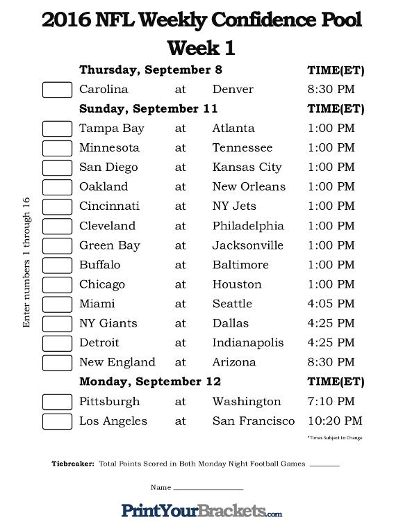 NFL Week 1 Confidence Pool Sheet - Printable
