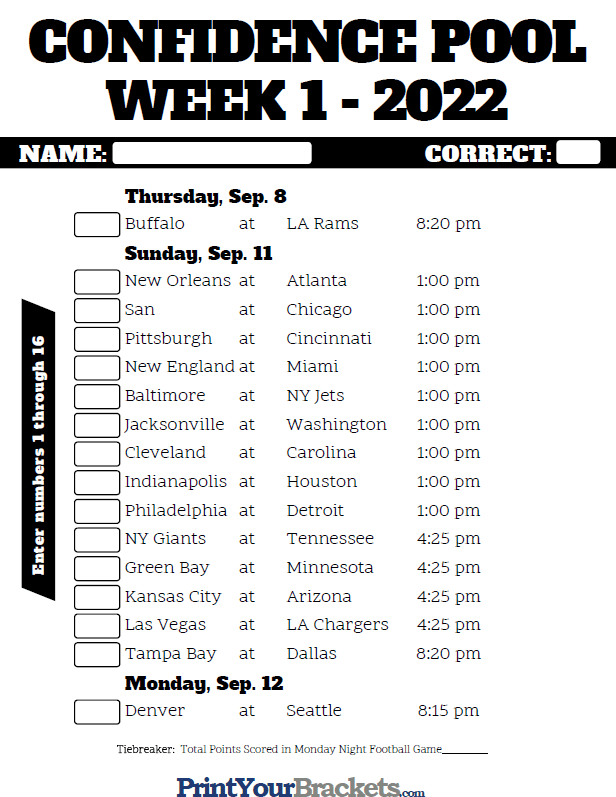 picture relating to Nfl Week 13 Printable Schedule known as NFL 7 days 1 Self-confidence Pool Sheet 2019 - Printable