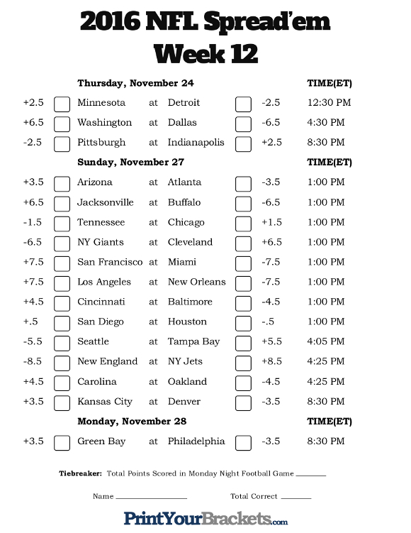 Printable NFL Week 12 Against the Spread Pick 'em Sheets