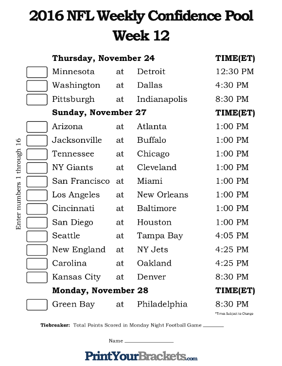 Printable NFL Week 12 Confidence Pool