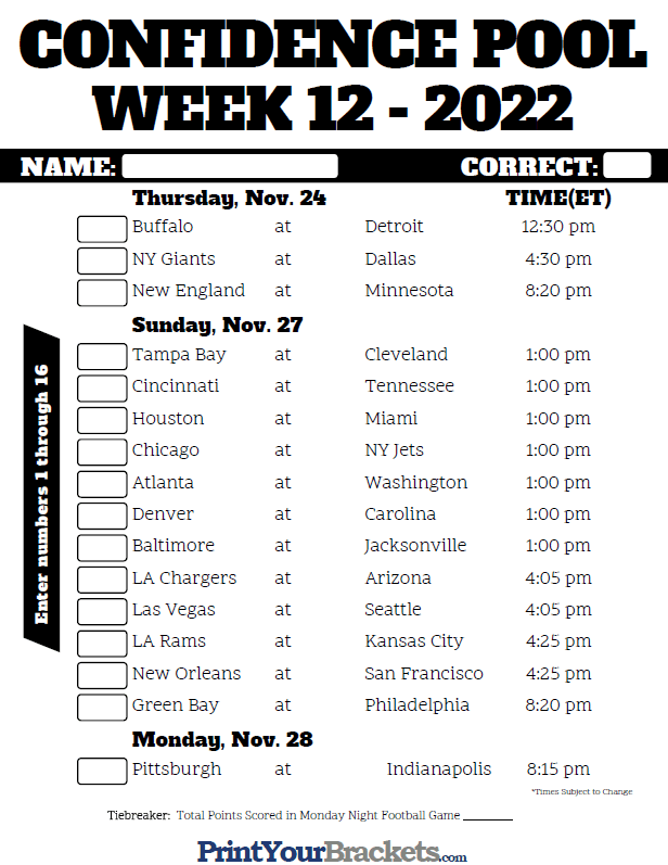 It is a picture of Impeccable Nfl Week 12 Printable Schedule