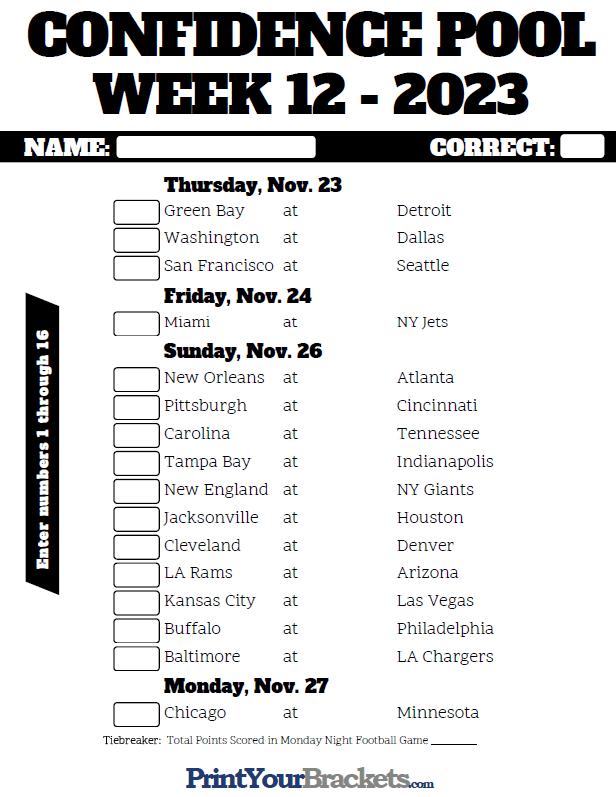 Nfl Week 12 Confidence Pool Sheet 2019 Printable