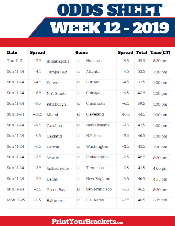 nfl bet online week 12 odds