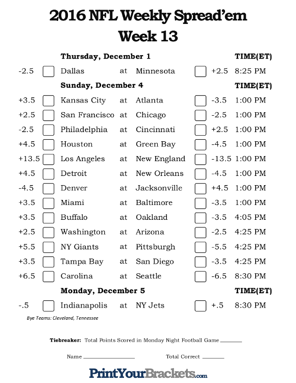 football picks week one nfl week 13 over under