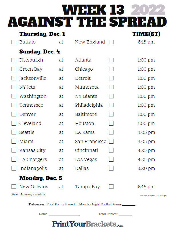 graphic regarding Nfl Week 13 Printable Schedule identify NFL 7 days 13 Pickem Versus the Unfold Sheets - Printable