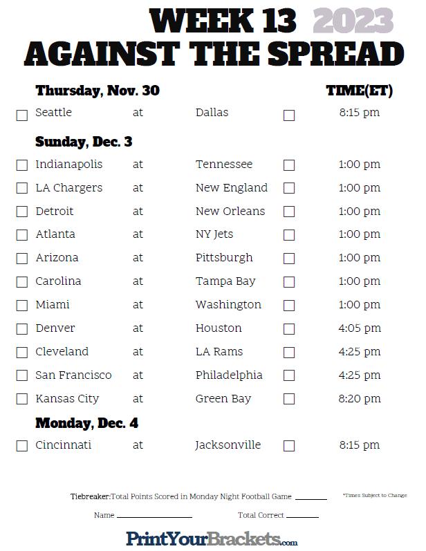 NFL Week 13 Pick'em Against the Spread Sheets - Printable