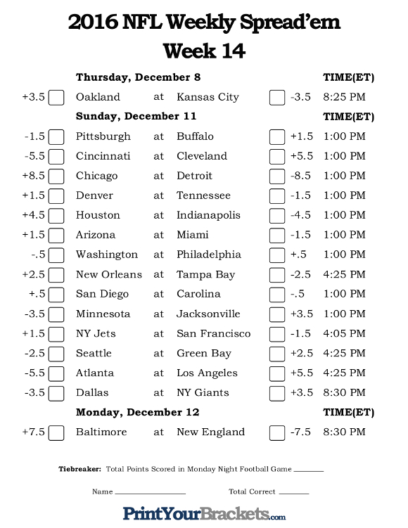 nfl picks against the spread week 11 sheet