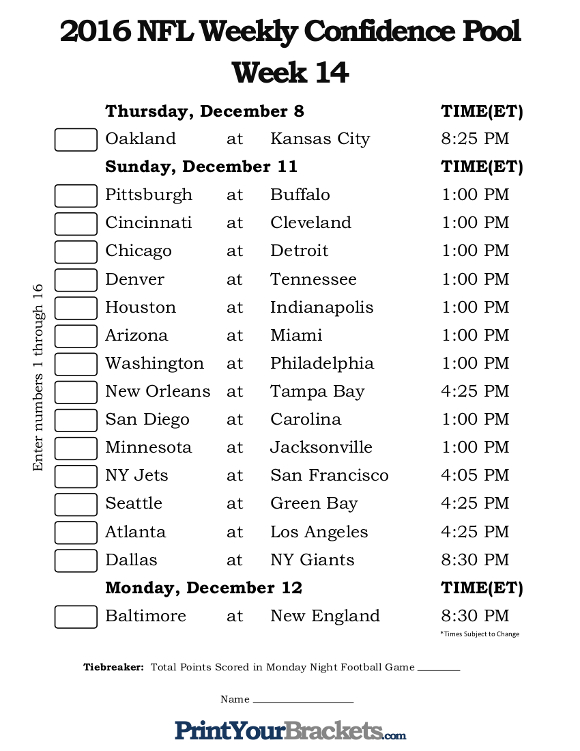 Printable NFL Week 14 Confidence Pool