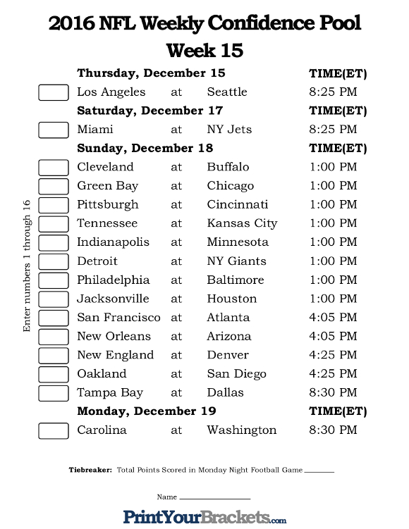 Printable NFL Week 15 Confidence Pool