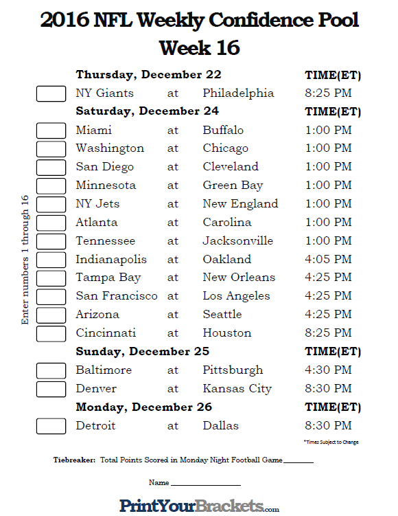 Printable NFL Week 16 Confidence Pool