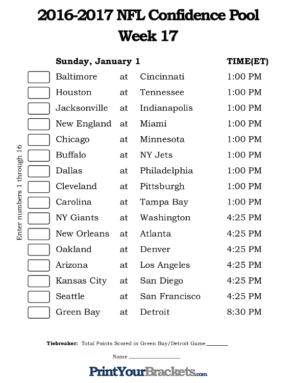 Printable NFL Week 17 Confidence Pool