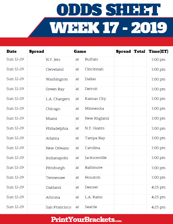 picture regarding Nfl Week 17 Schedule Printable named Printable NFL 7 days 17 Traces and Likelihood Sheet