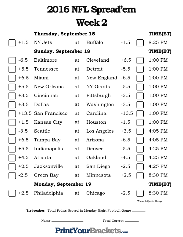 NFL Week 2 Pick 'em Against the Spread Sheets - Printable