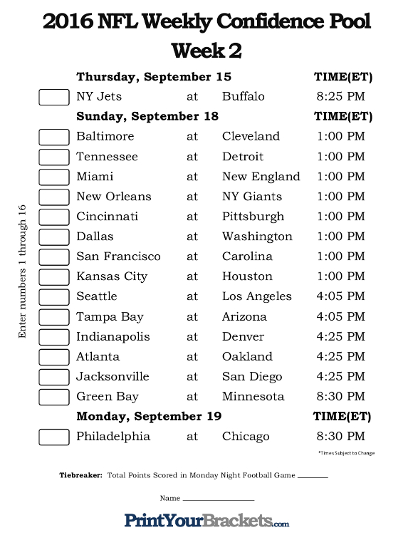 Printable NFL Week 2 Confidence Pool