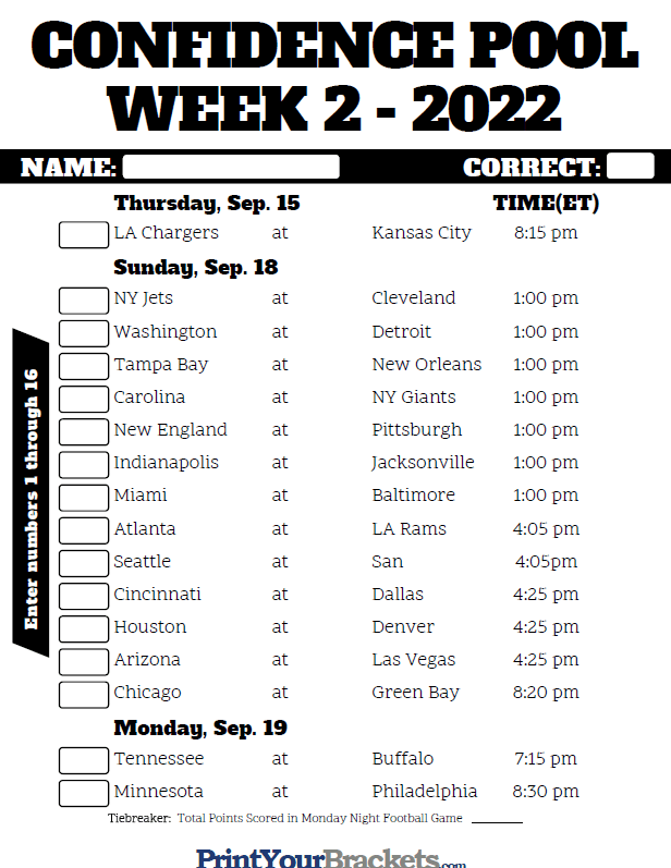 graphic relating to Nfl Week 2 Schedule Printable called NFL 7 days 2 Self esteem Pool Sheet 2019 - Printable