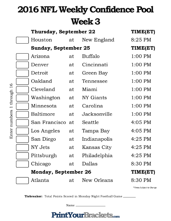 Printable NFL Week 3 Confidence Pool
