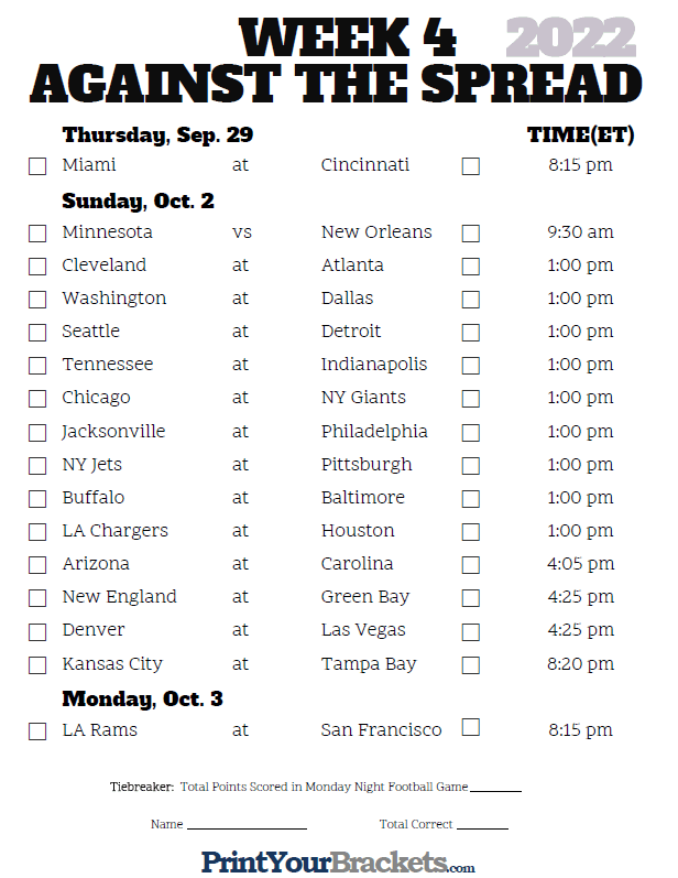 Printable NFL Week 4 Against the Spread Pick 'em Sheets