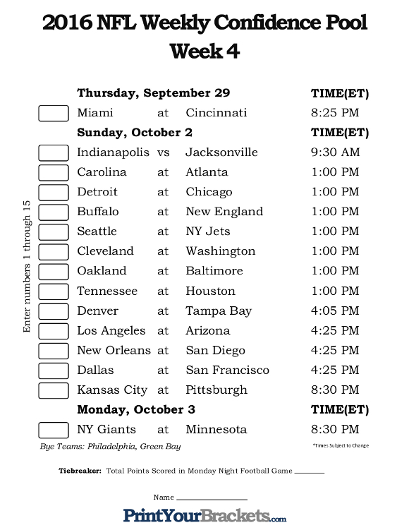 Printable NFL Week 4 Confidence Pool