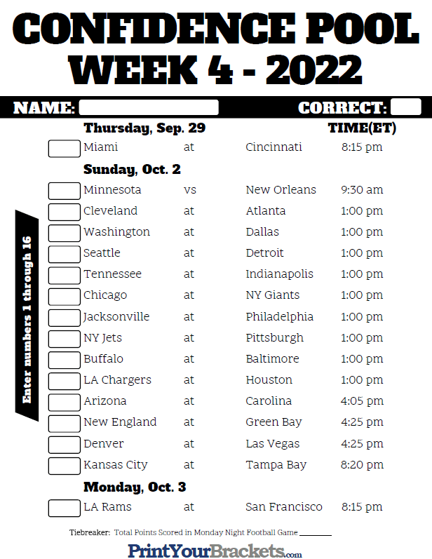 image relating to Printable Nfl Bracket identify NFL 7 days 4 Self-assurance Pool Sheet 2019 - Printable