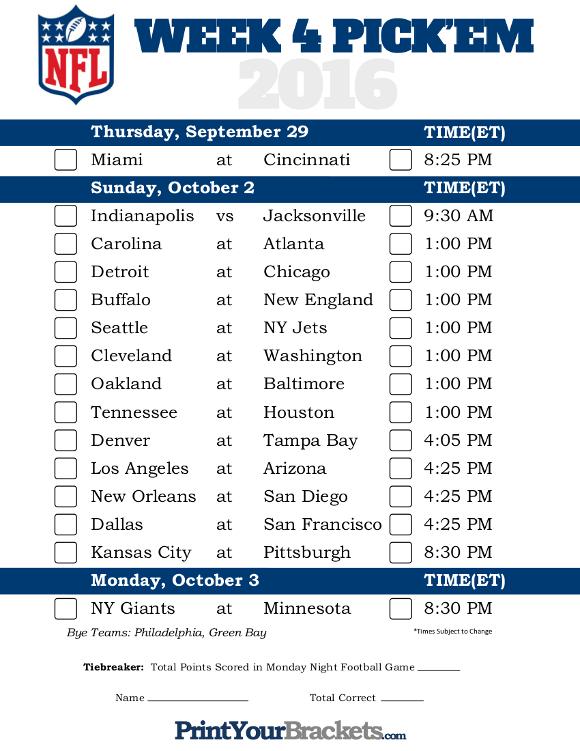 Printable NFL Week 6 Schedule Pick em Office Pool 2016