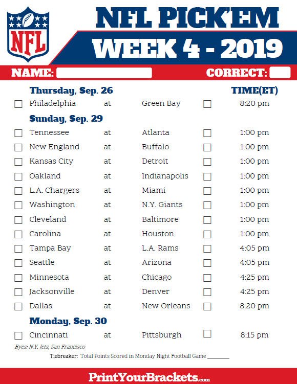Printable NFL Week 4 Schedule Pick em Pool 2018