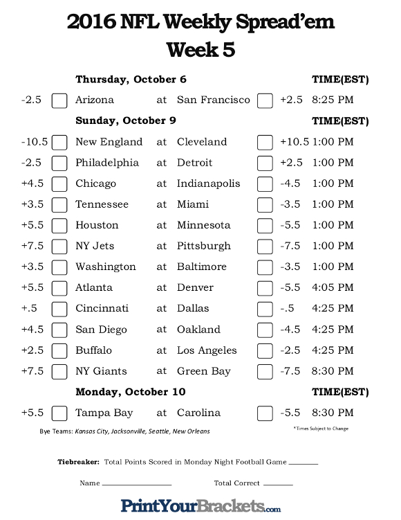 Printable NFL Week 5 Against the Spread Pick 'em Sheets