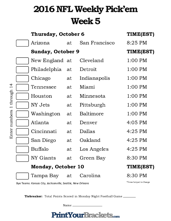 Printable NFL Week 5 Confidence Pool