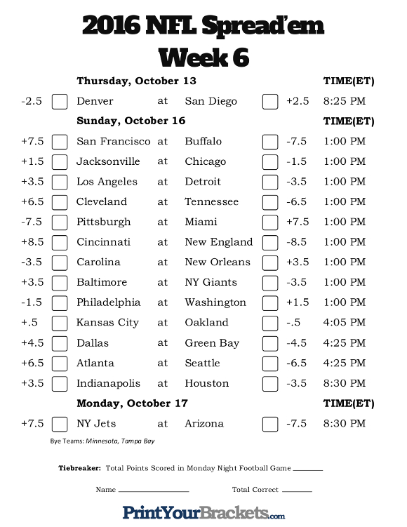 Printable NFL Week 6 Against the Spread Pick 'em Sheets